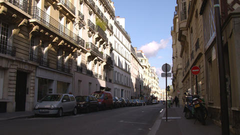 Street surrounded by apartments in Paris Live Action