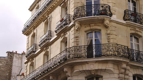 French architecture of a building corner seen from the street Footage