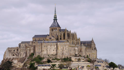 Still shot of Mont Saint Michel castle and monastery Footage