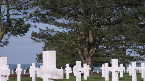 Panning shot of the American cemetery in Norman France Footage