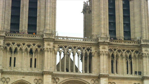 Royalty Free Stock Footage of Zoom out shot of the Notre Dame Cathedral in Paris Live Action