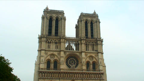 Royalty Free Stock Footage of Front facade of the Notre Dame Cathedral in Paris, Footage
