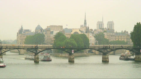 Royalty Free Stock Footage of Ferries on the River Seine in Paris, France Live Action