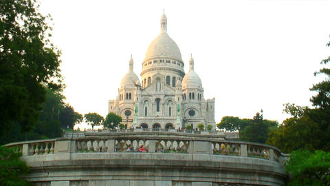 Royalty Free Stock Footage of Sacre-Coeur Basilica in Paris, France Live Action