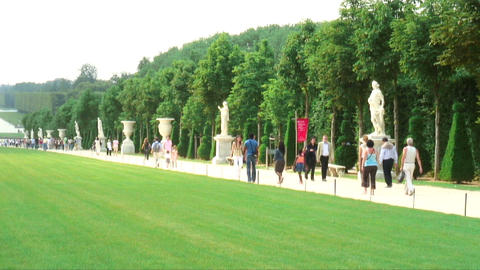 Royalty Free Stock Footage of Statues and a walkway surrounding a long lawn in P Live Action