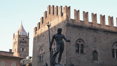 Bologna Italy plaza with a statue Live Action