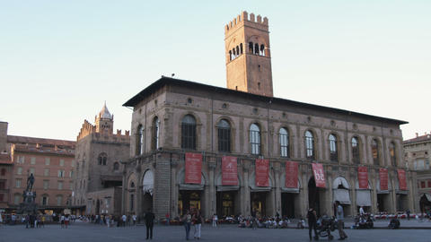 Plaza at sunset in Bologna Italy Live Action