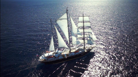 Beautiful yacht in calm weather sailing on the ocean Footage