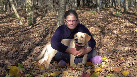 Girl with puppy dog Labrador in autumn forest Footage