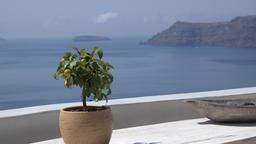 Greece Aegean Sea Cyclades Santorini view from white terrace in Oia to sea GIF