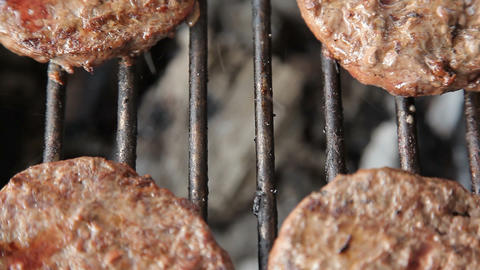 Grilled meat sausages on charcoal grill Live Action