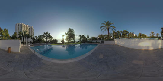 360 VR Resort view with hotel building and outdoor swimming pool, Turkey Footage