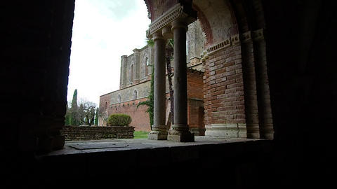 Bifora of the abbey of San Galgano in 4k Live Action