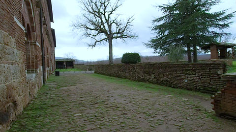 Exterior of the abbey of San Galgano in 4k Footage