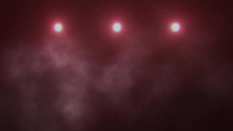 Red Triple Stage Lights and Smoke VJ Loop Background Animation