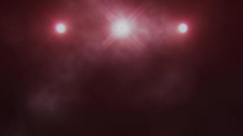 Red Triple Stage Lights and Smoke VJ Loop Background Stock Video Footage
