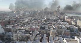 New York under Attack in war illustration Animation