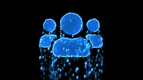 Liquid symbol users appears with water droplets. Then dissolves with drops of Animation