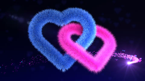 Gender plush hearts soaring on a magic background Animation