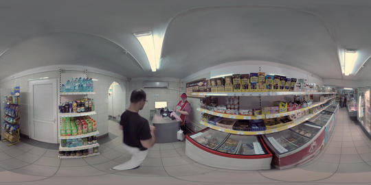 360 VR People buying food in the grocery. Moscow, Russia Footage