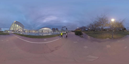 360 VR City of Arts and Sciences with green park, view in the dusk. Valencia Live Action