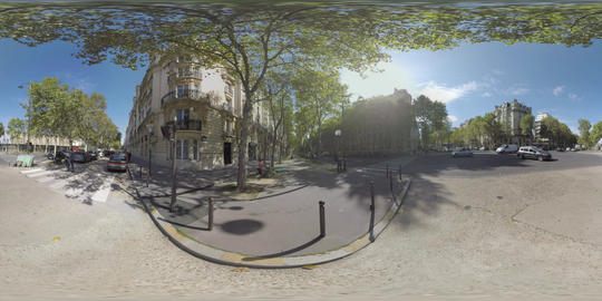360 VR Cityscape with crossroad, transport and people traffic. Paris, France Footage