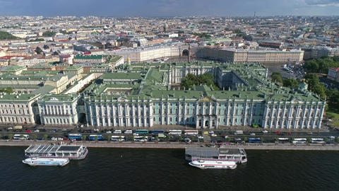Flight over the Neva River near Hermitage Footage