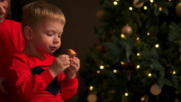 Children at Christmas tree eat cookies on Xmas eve. Family with kids celebrating Footage