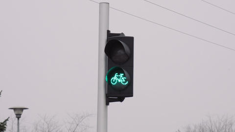 Green light for bicycles changes to red ビデオ