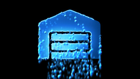 Liquid symbol warehouse appears with water droplets. Then dissolves with drops Animation