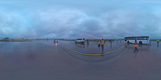 360 VR Evening view of Sheremetyevo Airport and spotters are going to shoot Footage