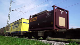 Cargo train passing, view up Footage