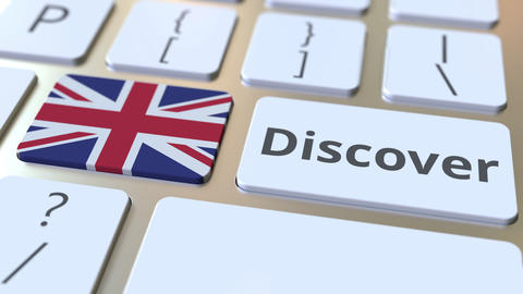 DISCOVER text and flag of Great Britain on the buttons on the computer keyboard Live Action
