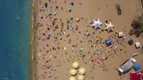 Top view Beach. Aerial view from flying drone Footage