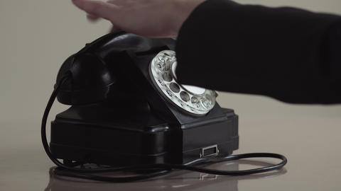 Woman Dial On Old Rotary Telephone Live Action