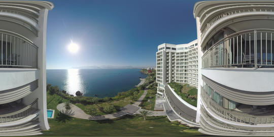 360 VR Amazing sea scene with sunshine viewed from hotel. Vacation in Turkey Live Action