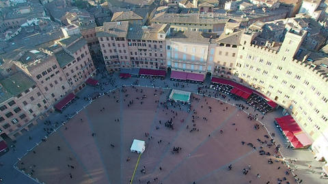 Aerial view of Piazza del Campo in 4k Live Action