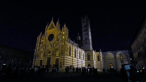 Siena Cathedral at night in 4k Live Action
