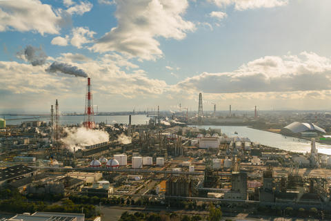 Oil refinery industrial and chemical factory plant with blue sky Photo