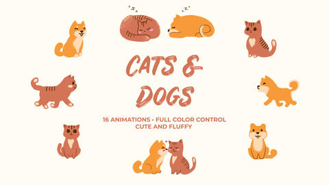 Cats and Dogs. Hand Drawn Pack Premiere Pro Template