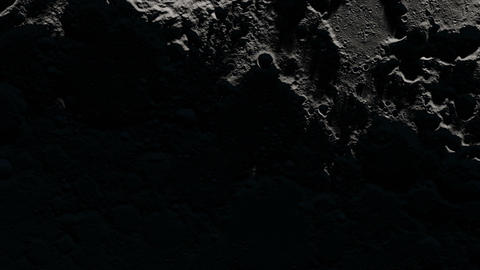 Camera flies around a craters in the Moon finishing in full moon image. Elements Animation