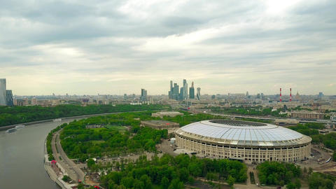 MOSCOW, RUSSIA - MAY, 24, 2017. High altitude aerial shot of renovated for FIFA Footage