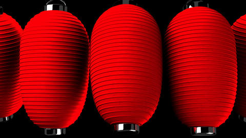 Red paper lantern on black background CG動画