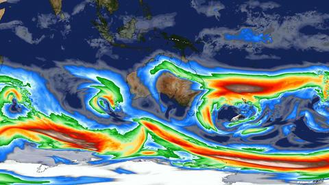 Time lapse animation simulated wind speeds over Australia…, Stock Animation