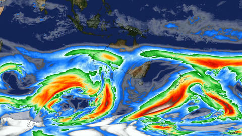 Time lapse animation simulated wind speeds over Australia with color graphic Animation