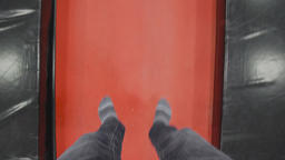 First Person view of man is jumping on a trampoline Footage