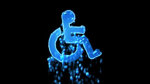 Liquid symbol wheelchair appears with water droplets. Then dissolves with drops Animation