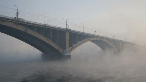 Krasnoyarsk Road Bridge In Hard Frost Stock Video Footage