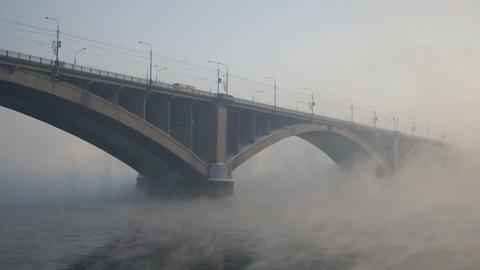 Krasnoyarsk Road Bridge In Hard Frost Stock Video Footage