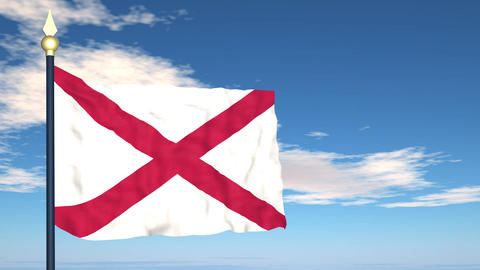 Flag of the state of Alabama USA Stock Video Footage